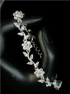 Simulated Diamond Flowers Bracelet / Bridal / Prom -187
