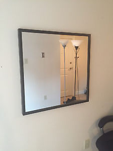 Square Wall Mirror with Black Frame