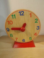 Childrens Ikea Wood Learn To Tell Time Learning Clock
