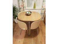 Hygena Amparo space-saving table & chairs CREAM