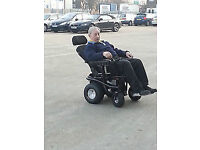 Bespoke off-road mobility powerchair with powerful motors and wide wheels for grass, mud, beach etc.