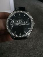 REAL Black leather GUESS Diamond watch New - woman's - 80 $ obo