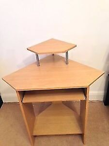 URGENT Small Corner Desk with Hutch - Beech Effect / good condition