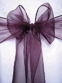 Plum / Purple chair sashes Wedding / Party x 50