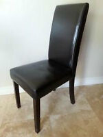 CHAIR - ESPRESSO CANVAS LEATHER PARSON DINING CHAIR