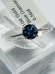 10K Gold Blue Diamond Solitaire Ring