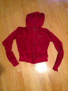 Guess Red Velour Zip Up Hoodie! Size: M