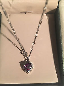 Brand new in box purple amethyst necklace
