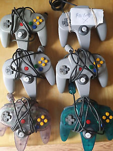 N64 Controllers 6 - clear grey clear blue grey loose playable