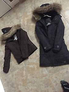 TNA short brown Parker and long black parka
