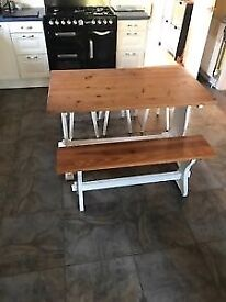 Shabby chic Pine dinning/ kitchen table with bench and 3 stools