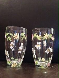 Two Hand Painted Water Glasses