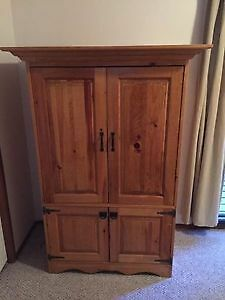 Custom made real pine wood entertainment unit/wardrobe