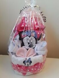 3 Tier Baby Girl Minnie Mouse Nappy Cake New Mum Baby Shower Gift Present
