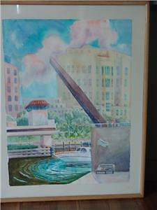 "Water Colour ""New River"" artist ANDREWS ALL ABOARD FLORIDA FORT"