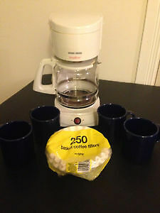 12-cup coffee maker + filters + mugs