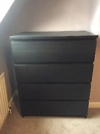 IKEA CHEST OF 4 DRAWERS BLACKBROWN - PERFECT CONDITION