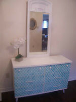 Beauitful White and Turquoise Dresser w/Mirror I DELIVER