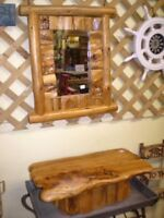 Rustic Wood Mirror & Shelf Set UP TO 60% OFF