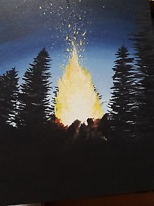 7x9 Glowing Bonfire Acrylic Painting