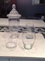 Wedding decor - various glass vases for candy bar