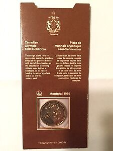 1976 Olympic $100.00 Gold Coin in Original Cover