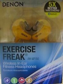 Denon Exercise Freak wireless in ear fitness headpones - brand new