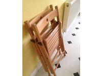 IKEA TERJE x 2 beech folding chairs