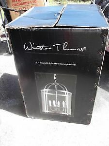 Winston Thomas Large Ceiling Light Chandelier Glass Pewter