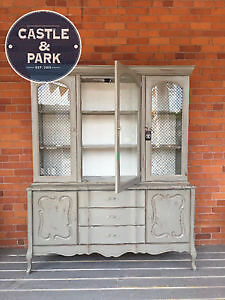 Painted, Vintage, French, Provincial, Hutch, Display, Storage