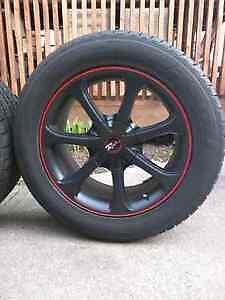 """17"""" rims and tires 245/50/17 NOT RACING RIMSlots of rubber left. Sarnia Sarnia Area image 2"""