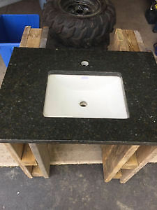 Granite counter with undermount sink
