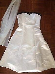 Elegant 3/4 Ivory Dress with Rhinestone Accent & Matching Shawl. London Ontario image 1