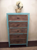 A SHOWPIECE! Shabby Chic Turquoise Large Tallboy Chest I DELIVER