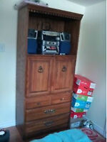 Wood cabinet, stackable two units, brown, $40