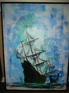 Original oil painting of a tall ship