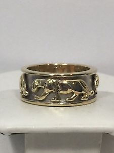 LAST SALE SALE)Men's 14K Yellow and White Gold Panther Ring Band