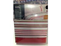 Single Duvet Sets - Cotton Mix - NEW - Purple Checks / Red or Blue Stripes