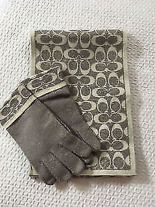 Coach Authentic Steel Grey & Cream Monogram Scarf & Glove Set