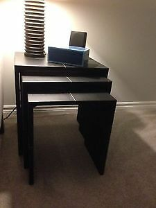 Set of 3 faux leather nesting tables