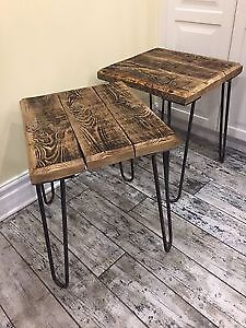 Set of reclaimed wood side tables