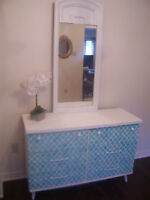 Beautiful White and Turquoise Motif Dresser w/ Mirror I DELIVER