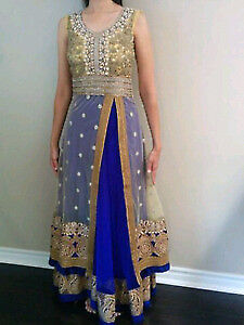 Blue and Gold Anarkali suit for sale