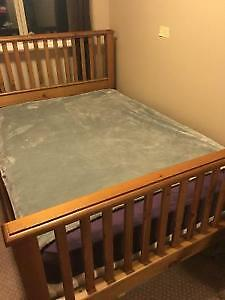 Solid stained wood bedframe, mattress and boxspring