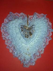 heart shaped Pillow .. Lace,Ribbon,Pearls .. NEW
