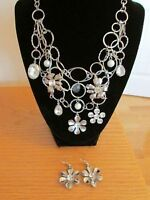 bling necklace and flower earrings - BRAND NEW