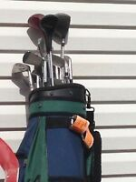 Left handed golf clubs in Spalding bag