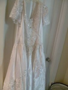 White Satin Pearls and Lace Wedding Dress with Long Train