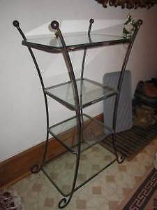 wrought iron glass shelving unit 4 tier etagere must go
