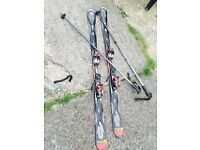 K2 Apache Crossfire 160 cm Skis Black & Red With 2 Rossignol Ski Poles ££55